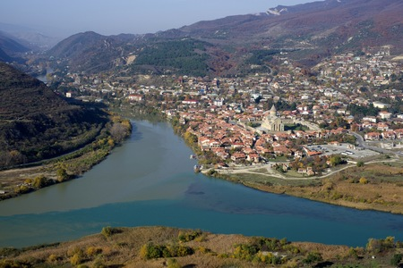 the confluence of the Kura River and the Aragvi River near the city of Mtskheta, Georgia. Stock Photo