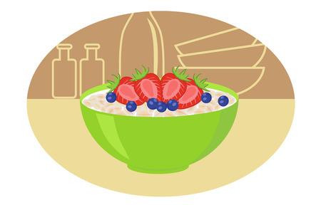 건강한 아침 - 우유와 딸기와 오트밀