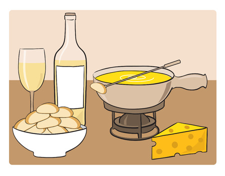 melted cheese: Fondue - dish of melted cheese Illustration