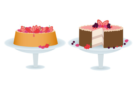 souffle: Cakes with berries Illustration