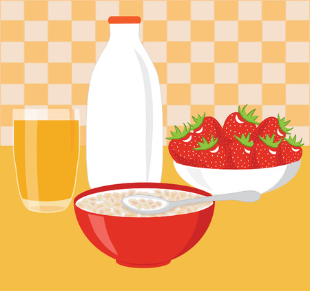 건강한 아침 식사 - 우유와 오트밀 일러스트