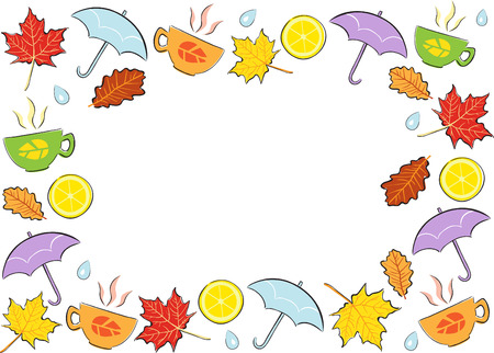 Сolourful autumn cartoon frame - illustration Vector