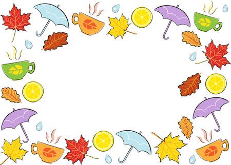 cartoon frame: ?olourful Telaio autunno fumetto - illustrazione Vettoriali