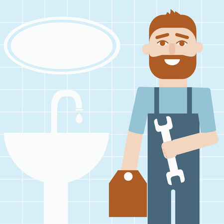 manual worker: Manual worker (plumber) with tool box in a bathroom Illustration