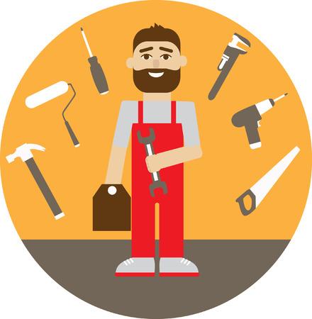 manual worker: Manual worker and tool set %u2013 flat illustration