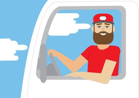 truck driver: Truck driver occupation. Flat illustration