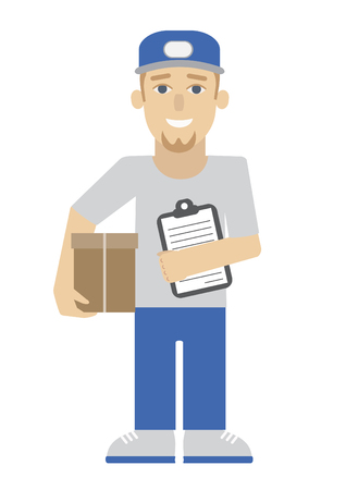 Messenger with parcel, flat vector illustration