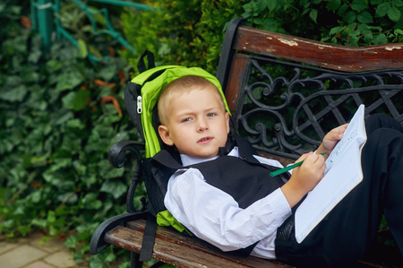 first year student: little boy student with a notebook . Homework . Stock Photo