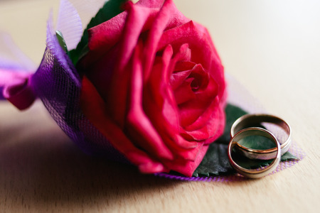 buttonhole: wedding rings on the buttonhole Stock Photo