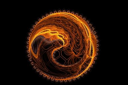 cartwheel: Abstract fractal round orange fantasy artificial sun image