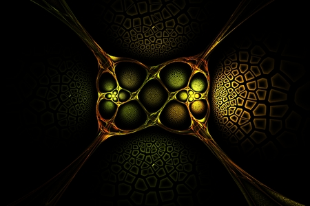 symmetry: Abstract fractal old gold symmetry geometric yellow red and green image Stock Photo