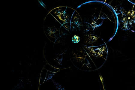 glass sphere: abstract fractal fantastic blue glass sphere in dark space