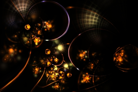 disorderly: abstract fractal magic drops of gold in the web Stock Photo