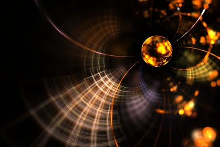 disorderly: Abstract fractal art brilliant yellow ball in the web
