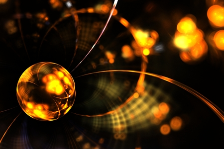 abstract fractal magic shining Golden drop on dark backdrop