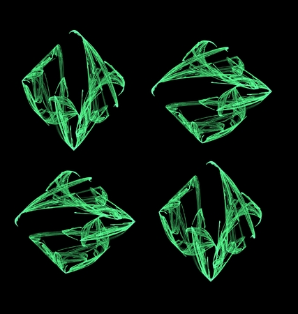 abstract fractal four emerald-green square on black background