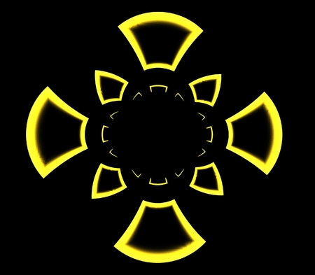 Abstract symmetrical ornamental pattern of yellow cross on black bacground