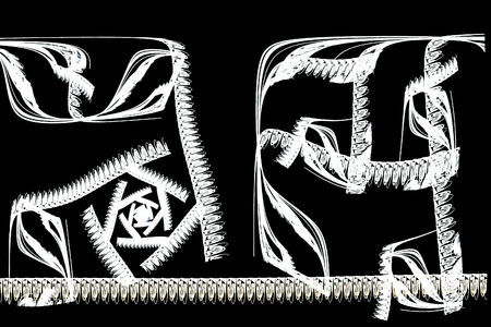 brushstokes: abstract fractal illustration of white Chinese calligraphy on black background Stock Photo