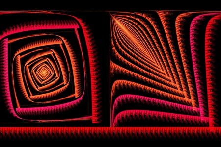 abstract square red and orange fractal computer-generated image Stock Photo