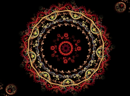 abstract fractal yellow and red ornament on black background Stock Photo