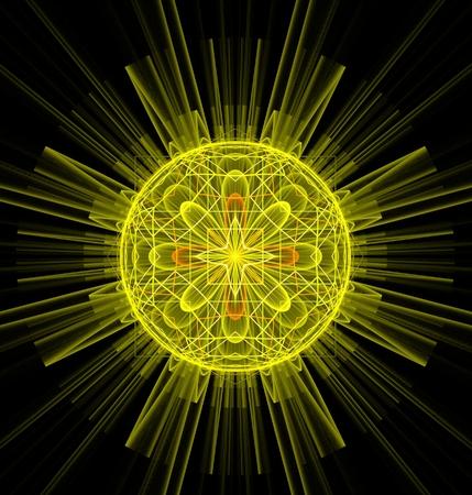 cartwheel: Abstract fractal round yellow fantasy happy sun image