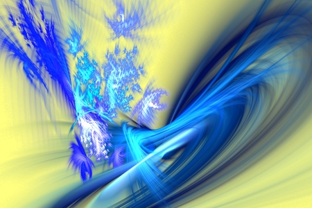 astral: abstract fractal with chaotic blurred blue curves on light yellow background