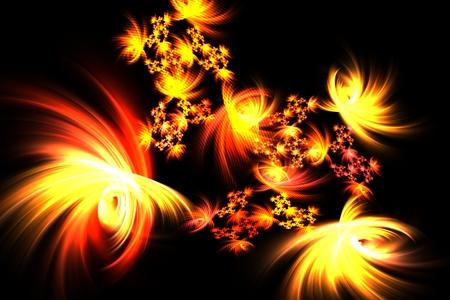 lumen: computer-generated sabstract fractal bright fun yellow fireworks Stock Photo