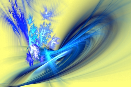 Dancing blue flames and sparks isolated on yellow background