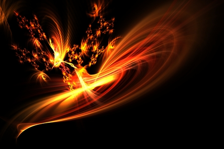 Dancing flames and sparks isolated on black - Dance of fire Imagens