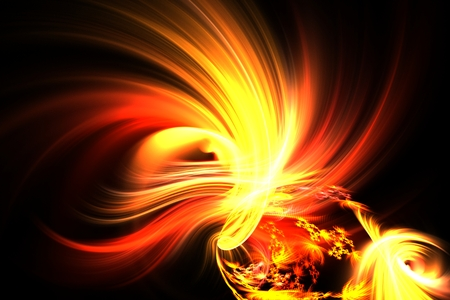 abstract fractal yellow flash on a space backgrounds Stock Photo