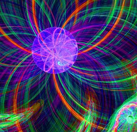 cartwheel: Abstract fractal round purple fantastic alien sun image