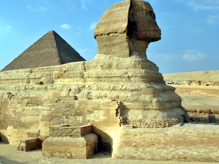 Great Pyramid of Pharaoh Ku, located at Giza and the Sphinx. Egypt. Stock Photo