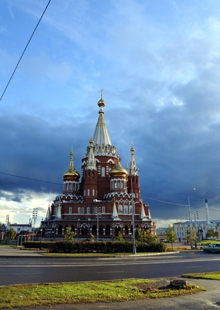 rebuilt: Saint Michaels Cathedral is the main Orthodox church of Udmurtia in Russia.