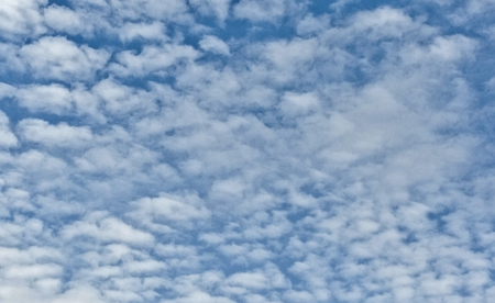 the texture of the blue sky with small white clouds like pieces of torn cotton