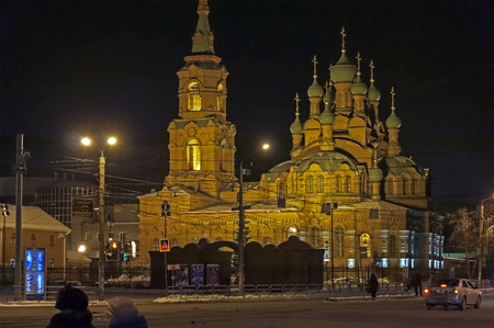 Orthodox Church of the Holy Trinity in Chelyabinsk, view from the road at winter night