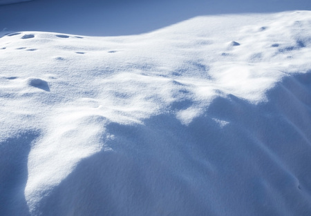 fresh snowdrift illuminated by the sun with blue shadows