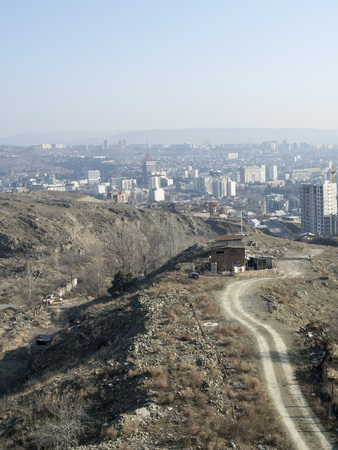 view of waking up morning Tbilisi from a high point