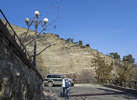 horizontal platform on the rise to the Holy mountain in Tbilisi on a Sunny spring morning