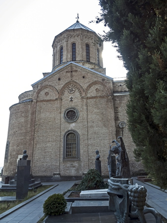 Church of St. David on the Holy mountain in Tbilisi on a Sunny spring morning Banco de Imagens