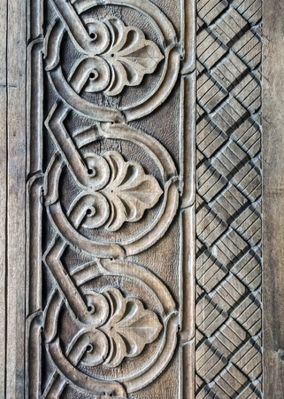 decoration details wooden carved door of one of the temples in Tbilisi