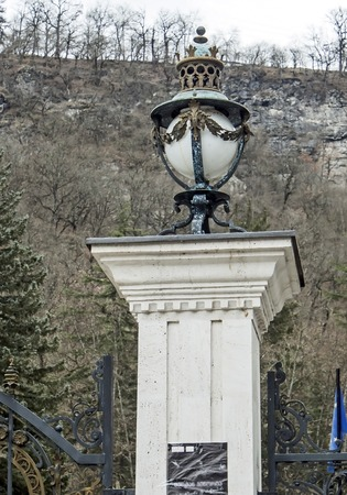 ancient lantern at the entrance to the Park of Borjomi in Georgia
