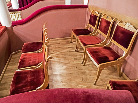 soft empty chairs in the theater bed Banco de Imagens