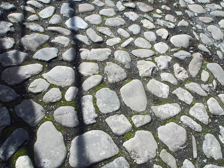 paving stones on the street of a small town in Georgia in springtime