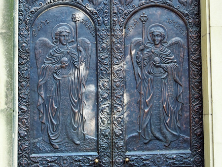 decoration of street doors of the Georgian Patriarchate in Tbilisi