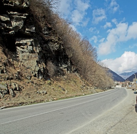 landscape along the Georgian military road in Georgia in the spring