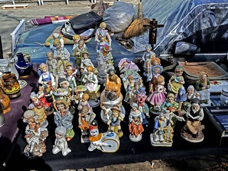 old porcelain figurines at the flea market in Tbilisi near