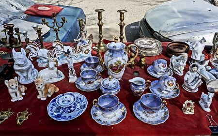 different porcelain and figurines at the flea market in Tbilisi