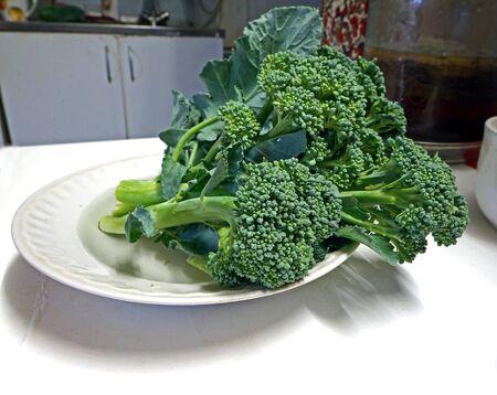 Close-up photo of a plate of broccoli, narrow focus area Banco de Imagens