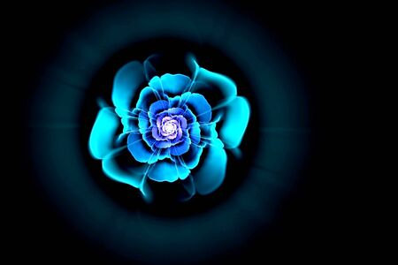 abstract fractal image of sky blue flower with purple middle