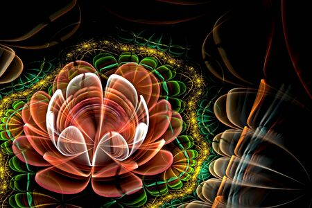 Abstract fractal computer-generated glowing 3d flowers. Multicolored fractal painting on a black background